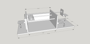 The initial Sketchup drawing of the pen decorator