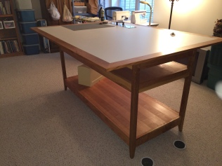 The finished table, in the sewing room!